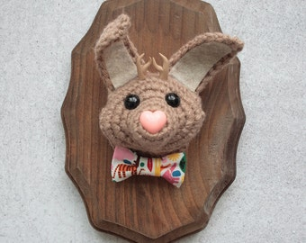 Faux Taxidermy Tan Jackalope With Zoo Bowtie