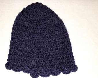 Navy Blue Scallop Crochet Hat