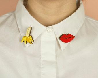 Wooden COLLAR PINS, laser cut: BANANA and Mouth