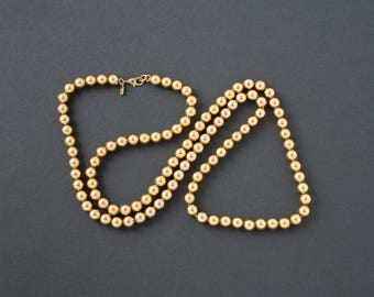 Vintage Monet Gold Bead Necklace  28 inch