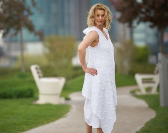 White Wedding Dress, Beach Wedding Dress, Linen Clothing, Boho Wedding Dress, Plus Size Dress, Maxi Linen Dress, Women Hoodie Dress, White