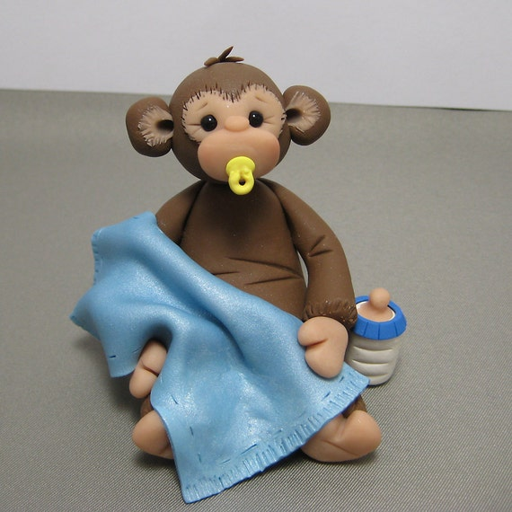 Baby Monkey Polymer Clay Baby Shower Cake Topper Decoration