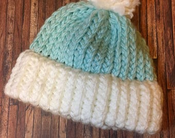 Blue and White Knitted Newborn Baby Hat