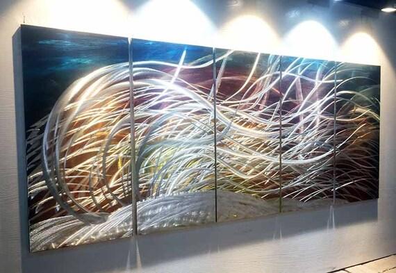 Metalen wall art olieverf schilderij kunst aan de muur for Schilderij op aluminium
