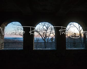 Sleeping Giant State Park_Hamden_Connecticut_Lookout Tower_Stone_Windows_Sunset_Winter_Trees_Photography_Nature_Prints