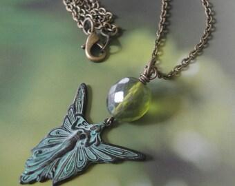 Fairy Goddess Verdigris Charm Necklace