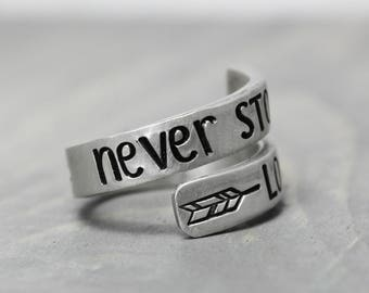Inspiration Ring, Never Stop Looking Up, Hand Stamped Jewelry, Personalized Jewelry, Wrap Ring, Hand Stamped Ring, Though She Be  Little