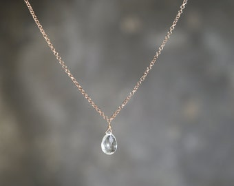 Necklace 925 Sterling silver plated rose gold and green Amethyst Briolette