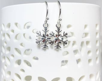 Snowflake Earrings, Sterling Silver Petite Dangles, Snowflake Charms, Winter Accessory, Snowflakes and Icicles, Lightweight, Minimalist