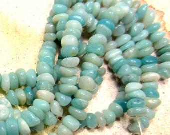 Amazonite beads aqua blue Peruvian Amazonite nuggets  natural stone jewelry supplies 15inch strand 7mm-9mm HP53 (K5),