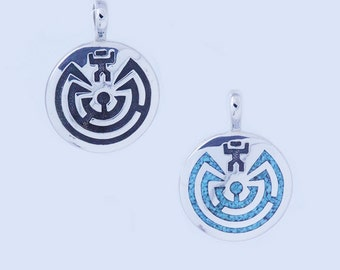 Large Man in Maze Symbol inlaid with Turquoise sterling silver 925 pendant