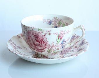 Vintage Johnson Brothers Rose Chintz Tea Cup & Saucer ~ English Ironstone China ~ Tea Party ~ Shabby Chic Country Farmhouse Cottage Dining
