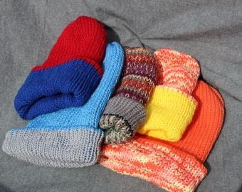 Revesable Knitted Slouch Beanie