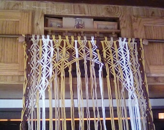 Earthly Cascade Macrame Weave Arch Curtain Wall Hanging
