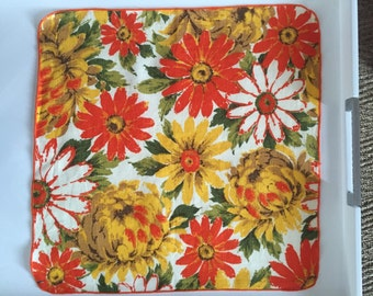 7 vintage bright floral napkins from the 1980s