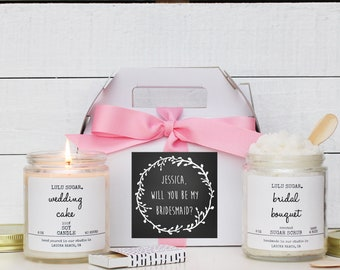 Bridesmaid Gift Set | Maid of Honor Gift Set -  Chalkboard Laurel Label -  Personalized Bridesmaid Gift | Candle and Sugar Scrub Set