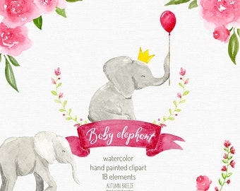 watercolor baby elephant clipart, watercolor clipart, watercolor elephant, baby girl, baby shower,  Kids Clipart, animal clipart