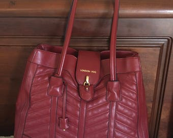 London Fog Burgundy Open Top  Hand Bag - Large