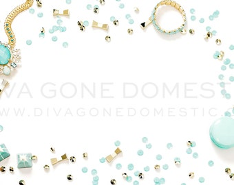 Styled stock photo | Robins egg blue aqua and gold sequins professional product photography | Graphic designer artist business background