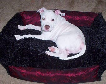 Custom embroidered dog beds (Full customization fabrics, sizes, embroidery & colors!)