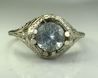 Vintage Aquamarine Ring with 10k White Gold Filigree Setting. 1+ Carat. Unique Engagement Ring. March Birthstone. 19th Anniversary Gift.