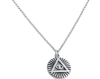 All seeing eye glass necklace pendant free shipping illuminati circle all seeing eye charm pendant necklace 925 sterling silver azaggi n0596s mozeypictures Images