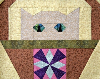 Windmill Cat Paper Pieced Quilt Block Pattern by Curlicue Creations, Kitty Quilting Pattern Sampler Quilt Block