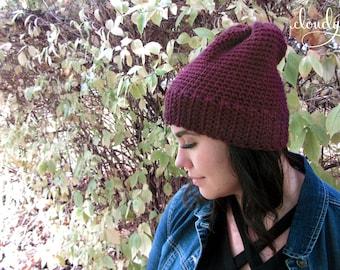 Maroon Crochet Beanie | Women's Beanie | Crochet Toque | Vegan Hat | Crochet Cap | Winter Hat | Christmas Gift | Minimalist | 1990s Style