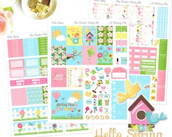Hello Spring - Printable Planner Stickers - Instant Download