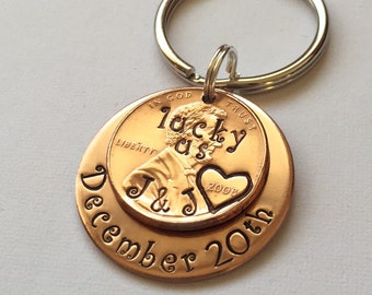 Traditional 7 Year Copper Anniversary Gift For Her, Lucky Us Penny Keychain Gift For Wife, Stocking Stuffer Christmas Gift For Women, 7th
