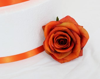 MADE TO ORDER Rose Silk Flower Wedding Cake Layer Accents - Extra Flowers Set of Three (3)