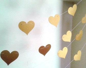 Gold Metallic Heart Garland - 12 feet , Gold Wedding Décor, Gold Bridal Shower Décor.