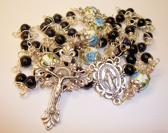 Catholic Rosary, Miraculous, Blue Goldstone, Wire Wrapped, Miraculous, lampwork beads, Indylin