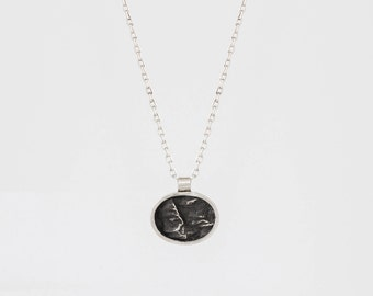 Mini Silver Oval Topography Necklace – Landscape