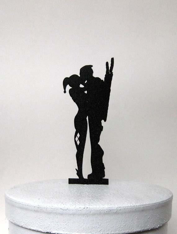 joker and harley wedding cake topper wedding cake topper harley quinn amp deadpool silhouette 16609