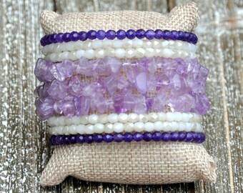 Purple Rocks Beaded Cuff Bracelet