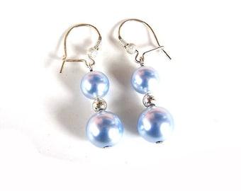Swarovski Light Blue Crystal Pearl Earrings, Sterling Silver, Long Dangle Earrings