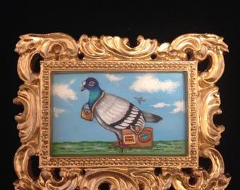 Passenger Pigeon - Miniature Acrylic Painting
