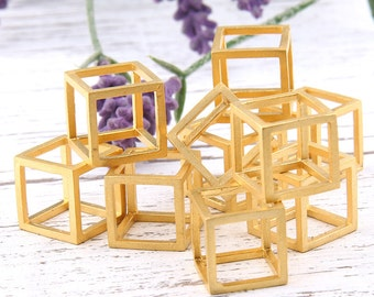 Matte Gold Large Open Cube Pendant, Gold Cube, Large Open Cube Bead, 17mm, 1 piece // GP-466