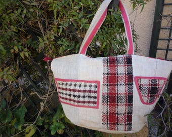 Rustic plain burlap and Plaid tote bag