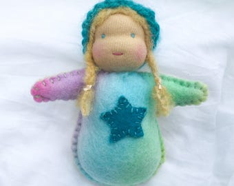 SALE! Small Doll Felt Friend - Blue Star
