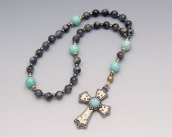 Pocket Rosary - Anglican Prayer Beads - Labradorite & Turquoise Magnesite with Ornate Cross - Religious Gift - Item # 815