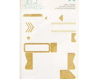 11 Piece Gold Sparkle Glitter  on White Labels by Heidi Swapp