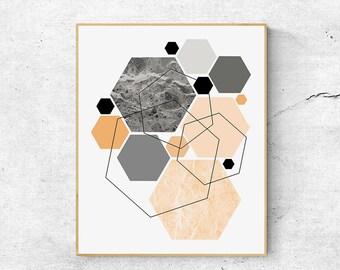 Geometric wall art Print, Scandinavian print, Geometric print, Large wall art printable, Scandinavian modern art, Large abstract art print