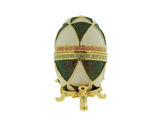 Green & White Faberge Style Egg Trinket Box, Decorated Egg Collectable Ornament - 6cm