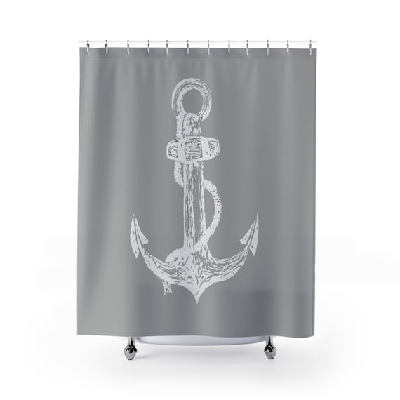 Delightful Grey Anchor Shower Curtain, Grey Shower Curtain, Gray Shower Curtain, Light  Grey Curtain, Light Gray Curtain, Anchor Curtain, Anchor Shower