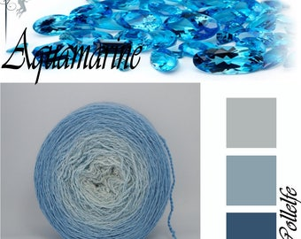 Aquamarine* Merino silk Gradient Yarn hand dyed - Lace weight
