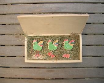 Refrigerator Han Magnets, Set of 3, Fridge Magnets Set, Ceramic bird magnet, Cute fridge magnet, Easter Gift