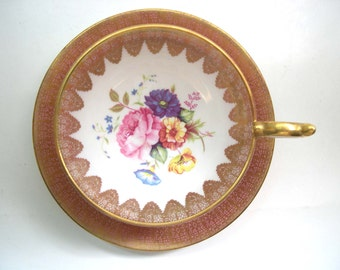 Elegant Pink Aynsley Tea Cup and Saucer,  Aynsley Pink and Gold  tea cup and saucer.