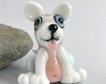 HUSKY, Lampwork Dog Bead,   Glass Sculpture Collectible, Focal Bead, Pendant, Izzybeads SRA